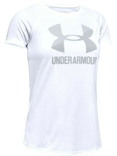 Under Armour Youth Girls Short Sleeve Logo T-Shirt NWT Black White  S  L  or  XL