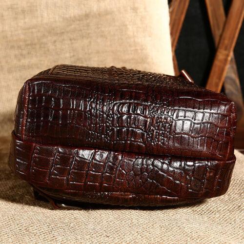 Genuine Leather Crossbody Bag Crocodile Daypack for Hiking Men/'s Sling Backpack