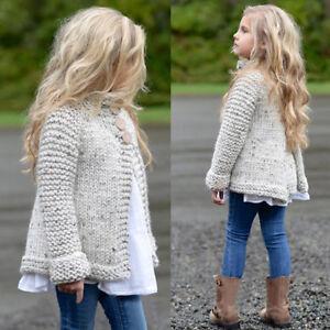 Enfants-Bebe-Filles-Tenue-Vetements-Bouton-Tricot-Pull-Cardigan-Manteau-Tops