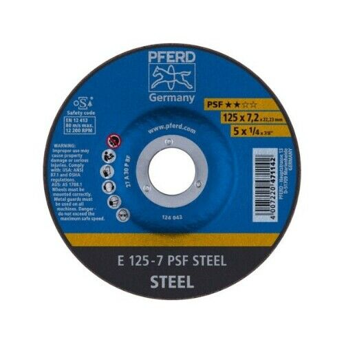 PFERD Schruppscheibe gekröpft E 125-7,2mm A30P PSF Stahl Guss
