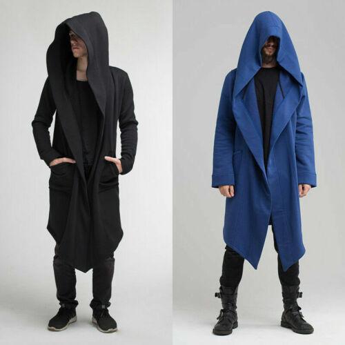 Mens Longline Cardigan Hooded Jacket Coat Sweatshirt Gothic Medieval Retro