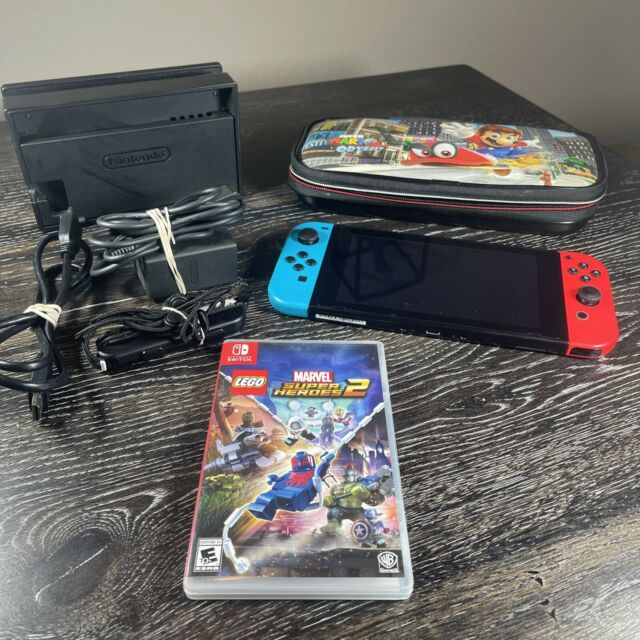 Nintendo Switch 32GB Neon Red/Neon Blue Console Bundle! Tested! Marvel Game