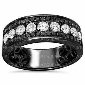 Mens 1 Ct Black /& White Diamond Wedding Pinky Band Ring 14k White Gold Finish