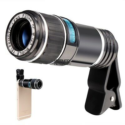 NEW Universal 12X Zoom Camera Phone Telephoto Telescope Lens + Clip Black KECP