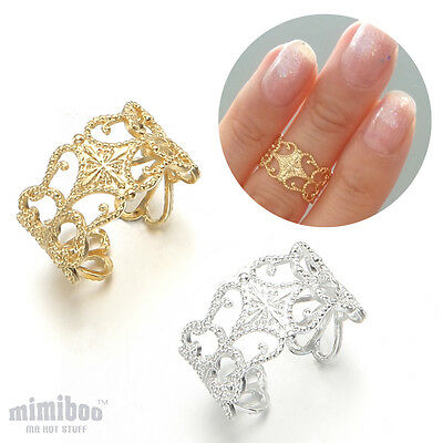 Lace Style Top of Finger Over The Midi Tip Finger Above Knuckle Open Band Ring