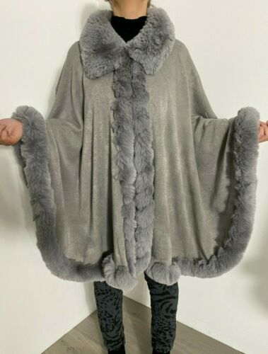 Poncho Faux Fur Cape Fluffy Furry Trim Luxurious Soft Stretchy Black Cosy Glam