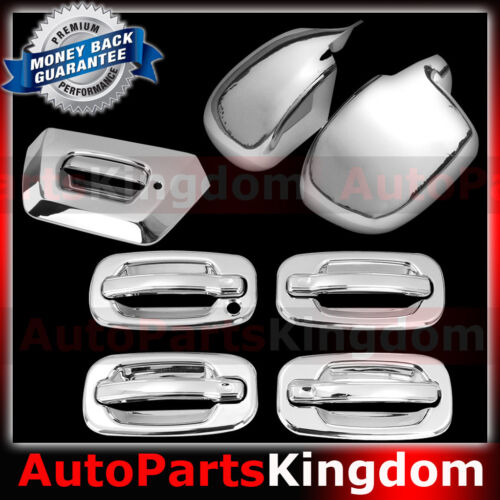 02-06 Chevy Avalanche Chrome FULL Mirror+4 Door Handle+w//o PSG KH+Tailgate Cover