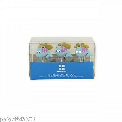 Heerlijk Essential Home Happy Creatures Shower Curtain Hooks Fish, Blue & Yellow 12ct Hot Sale 50-70% Korting
