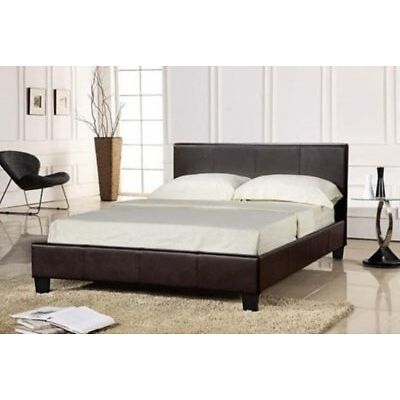 Modern Faux Leather Single Double & King Size Bed in Black or Brown + Mattress
