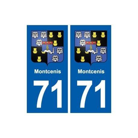 71 Montcenis blason autocollant plaque stickers ville -  Angles : droits
