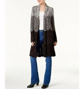 NEW-Style-amp-Co-Women-039-s-Ombre-Duster-Cardigan-in-Grey-Combo-Size-XS-S-L-or-XL-79