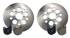 """Set 10"""" Brake Rotors & Pads Harley Sportster Shovelhead Stainless Dual Disc Kit"""