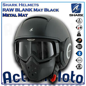 Casco-Helmet-Jet-SHARK-RAW-Drak-Nero-opaco-moto-scooter