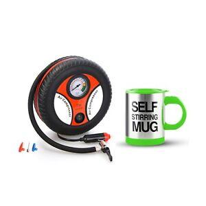 260PSI Auto Car Electric Tire Inflator with Self Stirring Mug (Green)