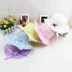 Baby-Children-Kids-Girls-Flower-Bow-Hat-Wide-Brim-Summer-Beach-Sun-Straw-Cap-Wd