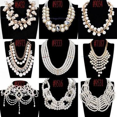 New Fashion Gold Chain White Pearl Chunky Choker Bib Pendant Statement Necklace