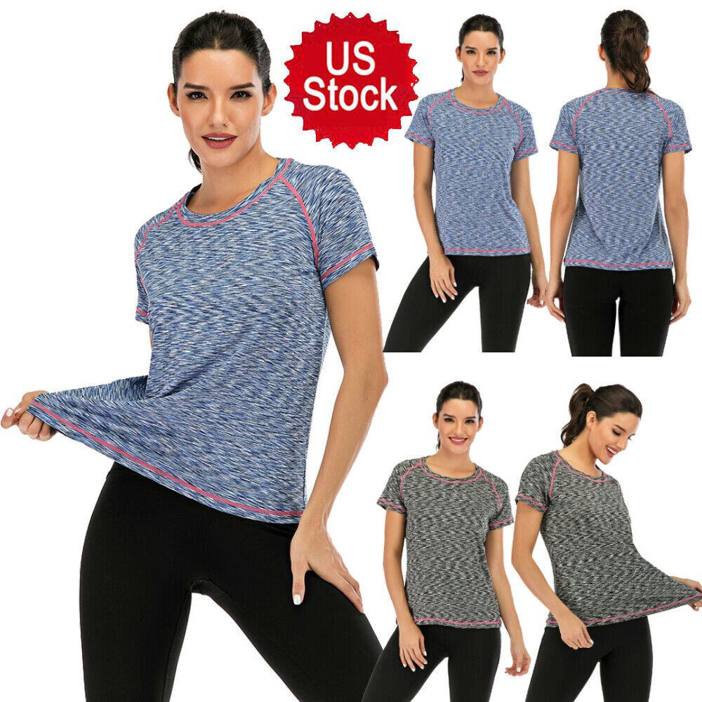 US Women's Activewear Yoga Short Sleeve Tee Outdoor Quick Dry T-Shirt Gray/ Blue