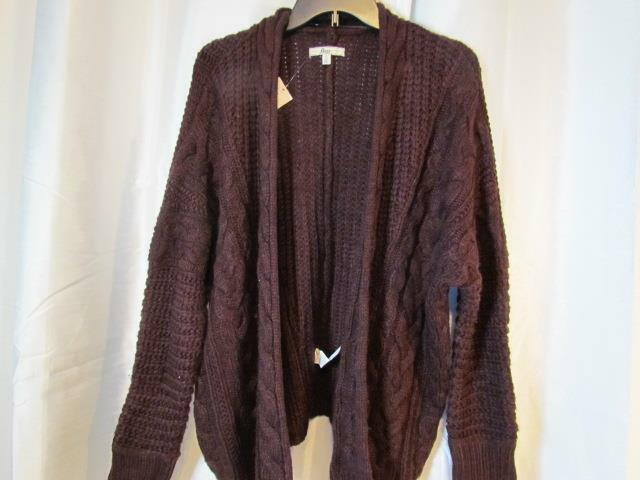NWT GH Bass Buttonless Cardigan Long Sleeve Cable Knit Berry Org