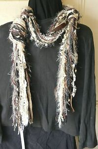 Knotted-or-Fringe-Scarf-Mixed-Fibre-or-Decor-Hanger-BROWN-BLACK-Tone-3-Met-LongD