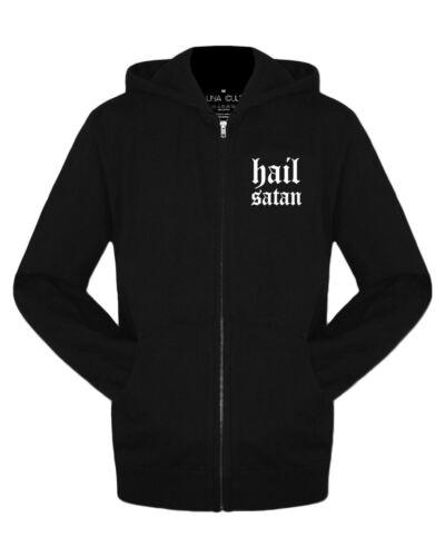 Hail Satana Felpa Con Cappuccio Donna-Gothic occulto DEVIL CORNO alternative Felpa