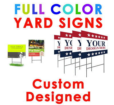 23 Custom Printed Yard Signs full color 4MM 2 Side Personalized Professional