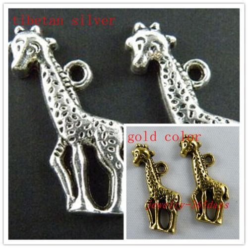 25pcs Tibetan Silver//Gold Color Lovely Giraffe Charms 22x10mm 10577
