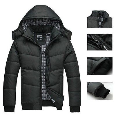 Men Warm Hoodie Hooded Coat Parka Winter Cotton Outwear Thick Down Jacket Black