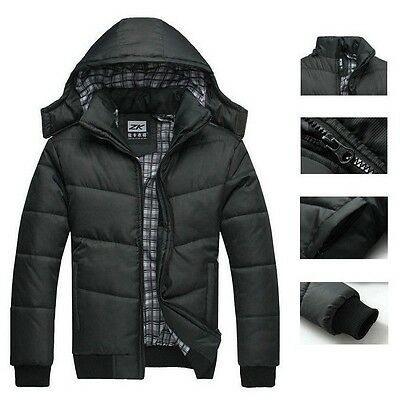 Men's Warm Thick Hoodie Cotton Coat Parka Winter Outwear Down Jacket Black New