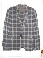 Murano Mens Dark Gray Fitted Plaid Blazer Large Jacket