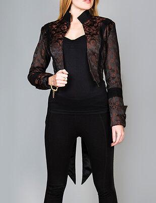Ladies Tailcoat Gothic Vintage Costume Victorian Steampunk Jacket WTC2 Brown