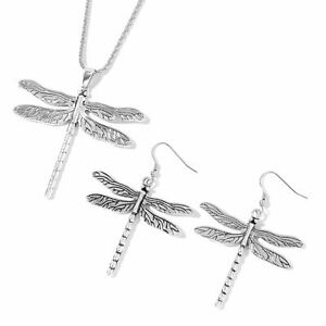 Natural-Silvertone-Dragonfly-Earrings-and-Pendant-With-Iron-Chain-29-in