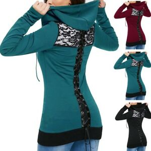 Women-039-s-Bandage-Long-Sleeve-Casual-Blouse-Lace-Up-Back-Zip-Up-Hoodie-Sweatshirt
