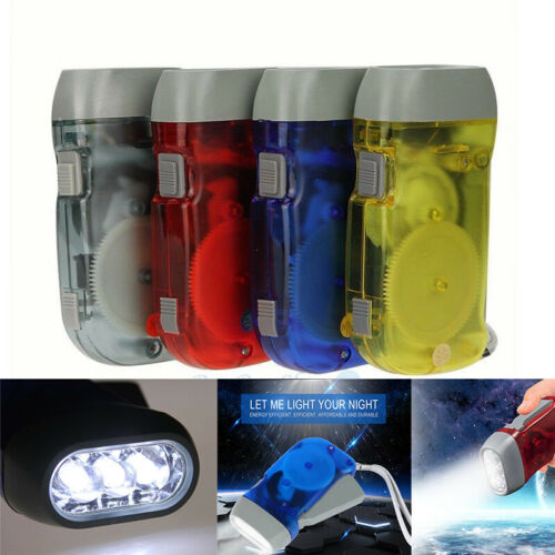 Lot 4 Pack Hand Crank All-Purpose LED Flashlight w/' Squeeze Powered Recharge New