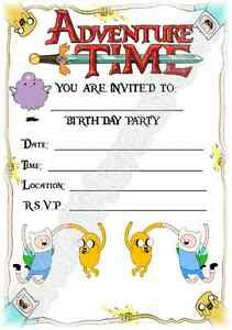 Details About A5 Cartoon Childrens Party Invitations X 12 Adventure Time Invites