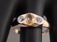 14k Yellow Sapphire Diamond Ring 1.75 ct Handmade Art Deco Ring European Cut