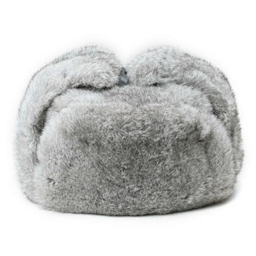 Men Real Genuine Rabbit Fur Hat Russia Trapper Earflap Winter Sking Cap Ushanka