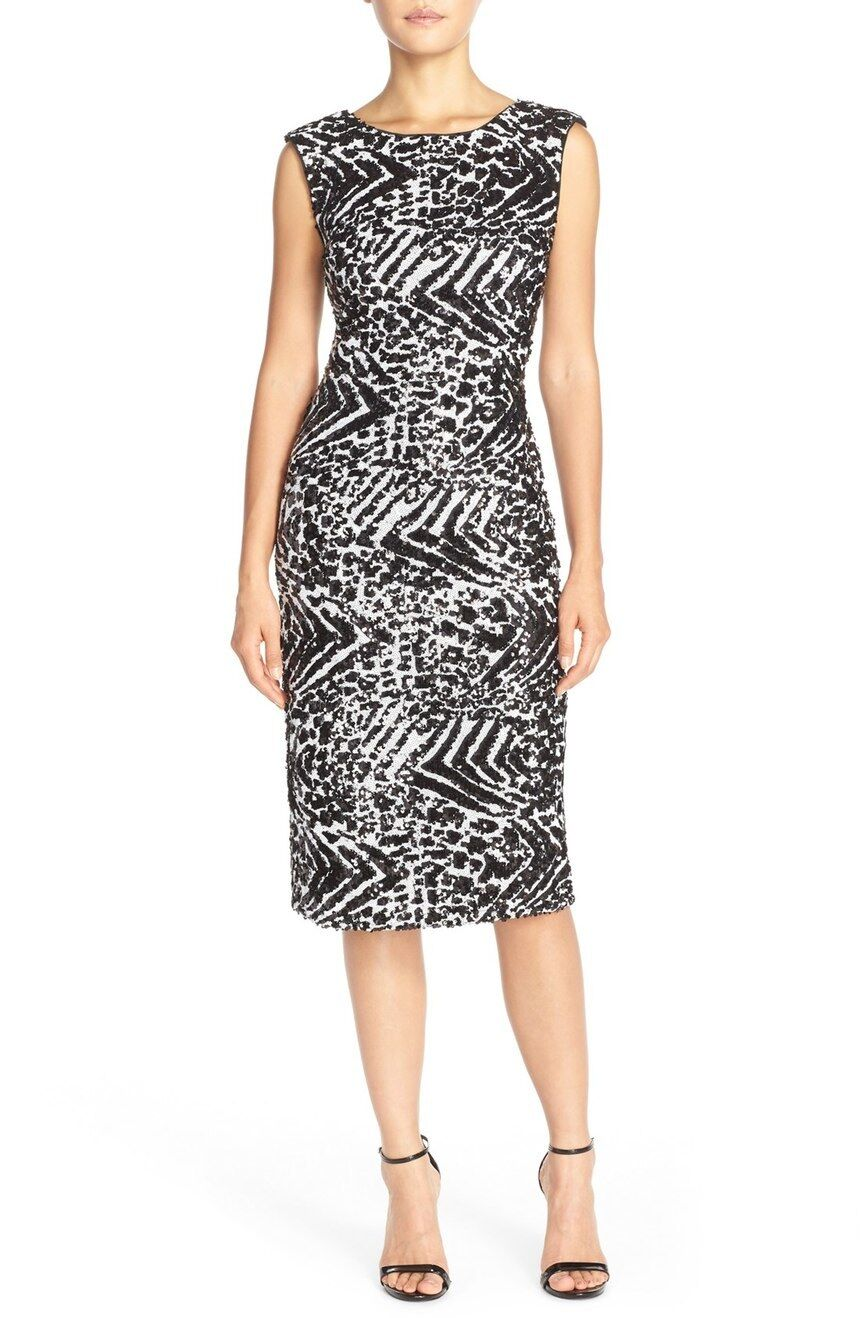 ECI Zebra Sequin Sheath Dress (Size 10)