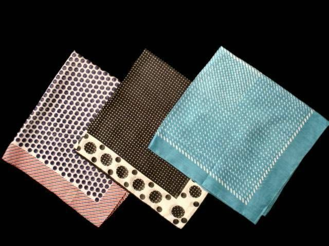 Vintage Scarves Polka Dots 1970S lot 3 Large Rayon