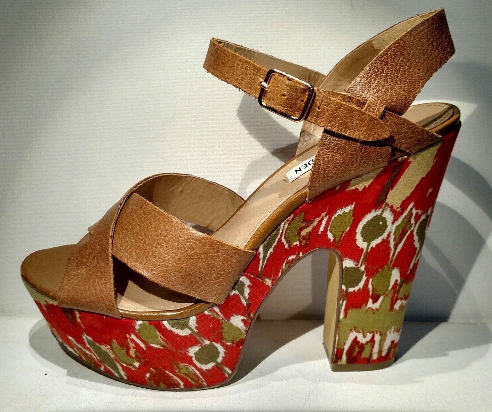 STEVE MADDEN Sz8m leather straps heels sandal 6inch multi color heels straps 5752bc