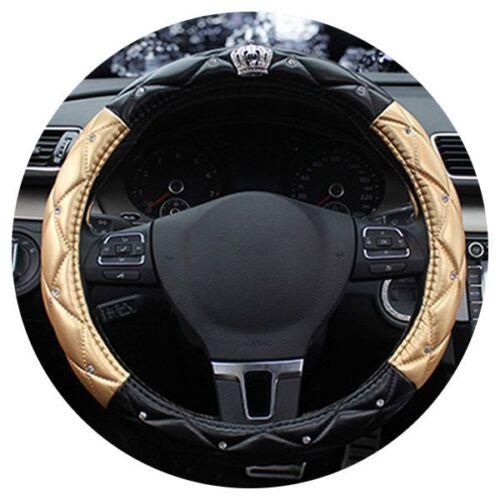 Car Steering Wheel Cover Universal Crystal Crown PU Leather Steering Wheel O3C5