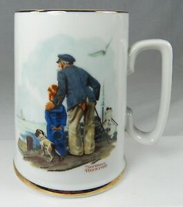 8ef40da6bc1 Details about Norman Rockwell Museum COFFEE CUP Mug Looking Out to Sea 1985  Old Sailor & Boy