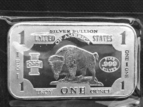 Bison//Buffalo 1 Troy oz .999  Fine Silver Art Bar SEALED
