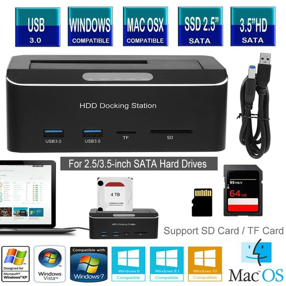 """USB 3.0 to SATA Hard Drive Docking Station with SD//TF Card Port for 2.5//3.5/"""" HDD"""