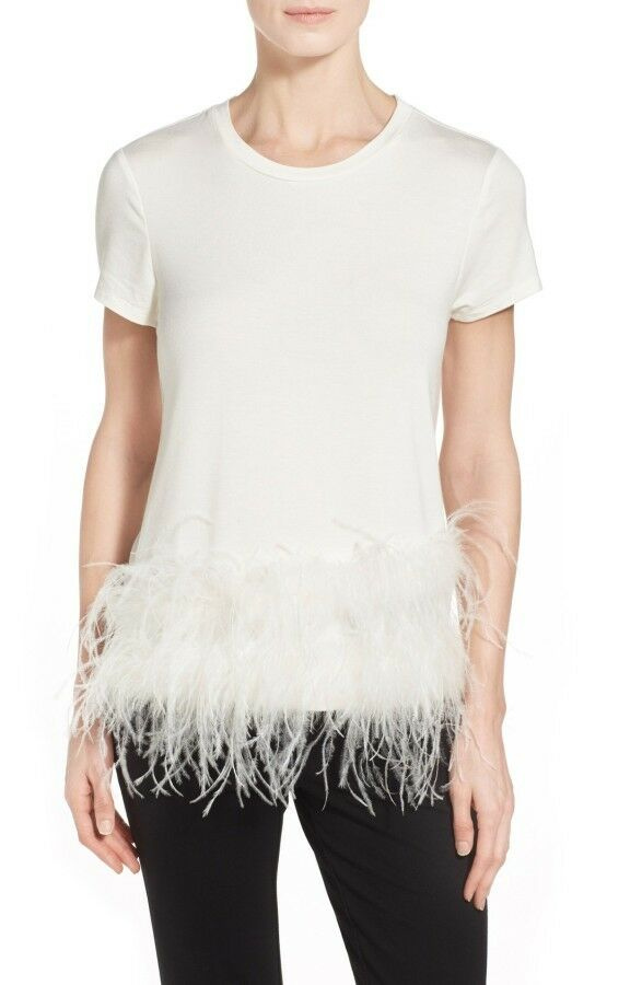 PINK TARTAN White Asymmetric Feather Tee Size S Retail