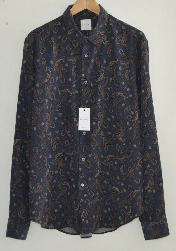 PAUL SMITH paisley & feathers navy bluee shirt Artist Stripe cuffs Slim Fit SMALL
