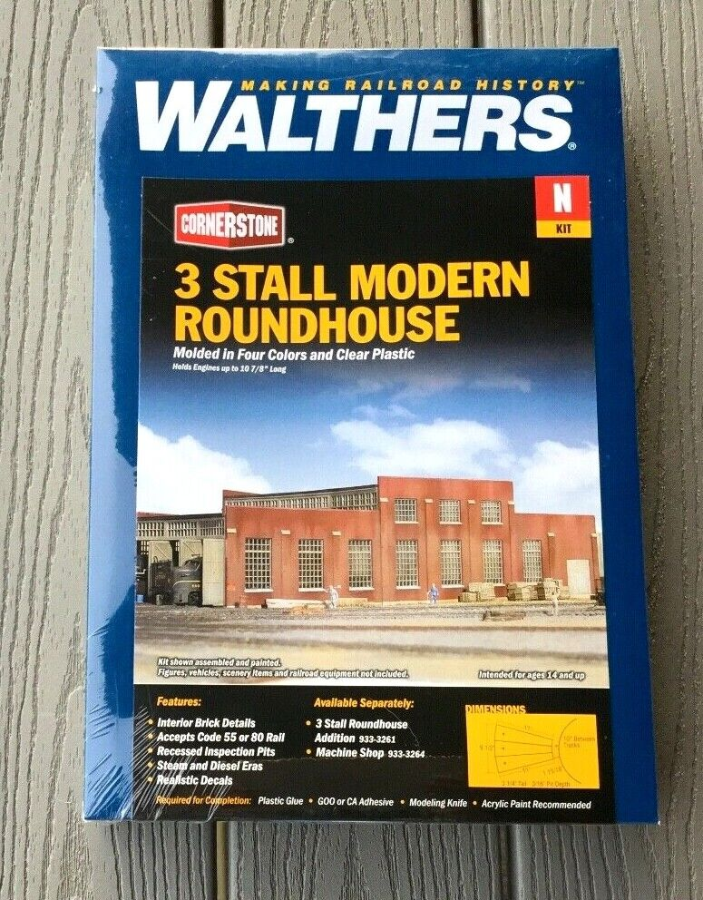 WALTHERS 1 160 N SCALE CORNERSTONE 3 STALL MODERN ROUNDHOUSE KIT 933-3260 F S