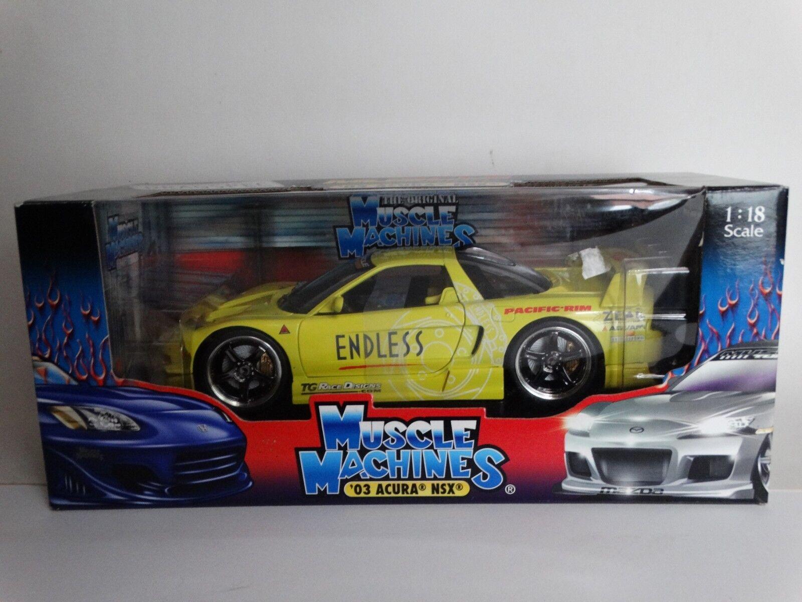 Muskelmaskiner 2003 Acura NSX Andlösa Tuners 1 18 skala tärningskast 03 Honda bil