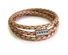 Silver Screw Camel Triple Leather Wrap Bracelet