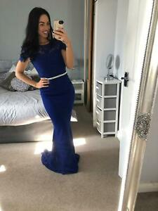 Royal-Blue-Lace-Dress-Ball-Gown-Long-Fishtail-Maxi-Evening-Prom-UK