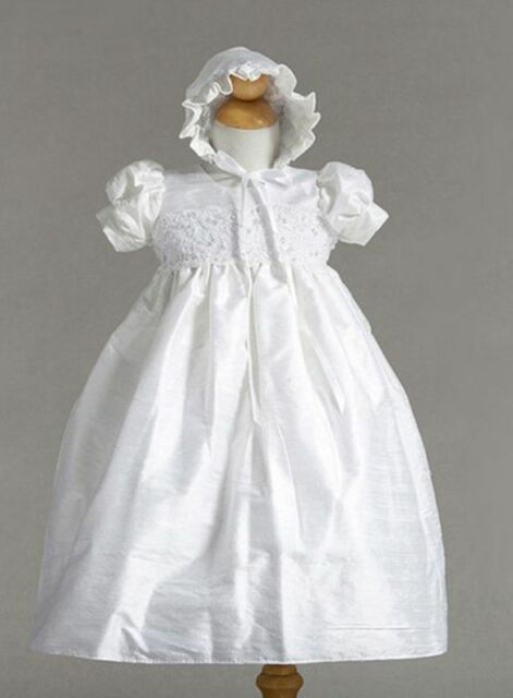 Stunning Shantung Silk Dressy Baby Girl Boutique Christening Holiday Dress/Hat